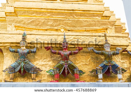 Mythical Giants and the Golden Pagoda in the Temple of Emerald Buddha