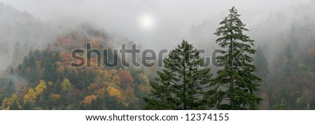 Mythical Smoky Mountains Scene, Digital Composite - stock photo