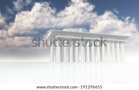 Mythical Temple in white - stock photo