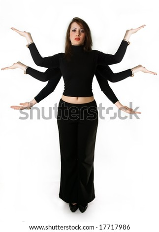 Mythical woman has six hands against the white background - stock photo