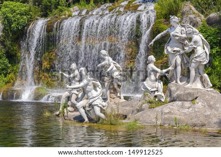 mythological statues of nymphs women in the garden Royal Palace of Caserta - stock photo
