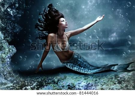 mythology being, mermaid in underwater scene, photo compilation - stock photo
