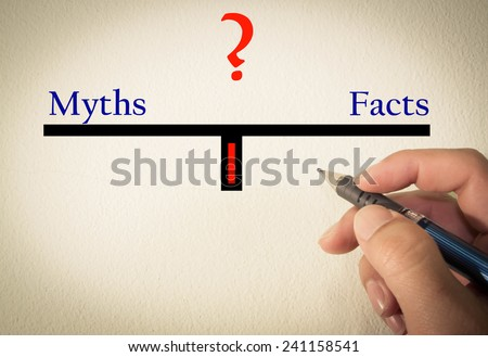 Myths and facts text concept write on wall  - stock photo