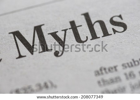 Myths. Myths written newspaper, shallow dof, real newspaper.  - stock photo