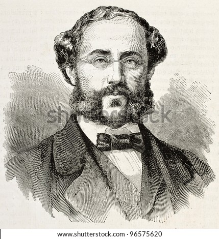 N. A. Katziepoulos old engraved portrait (exponent of Greek insurrectionist movement and General Secretary of provisional government). Created by Chenu, published on L'illustration, Paris, 1863 - stock photo