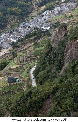 "n China Wenzhou ""yandang Mountain"", winding roads and rural construction terraces. - stock photo"