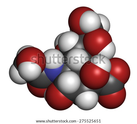 N-glycolylneuraminic acid (Neu5Gc) molecule. Sialic acid found in most mammals but missing in humans. Atoms are represented as spheres with conventional color coding: hydrogen (white), etc  - stock photo