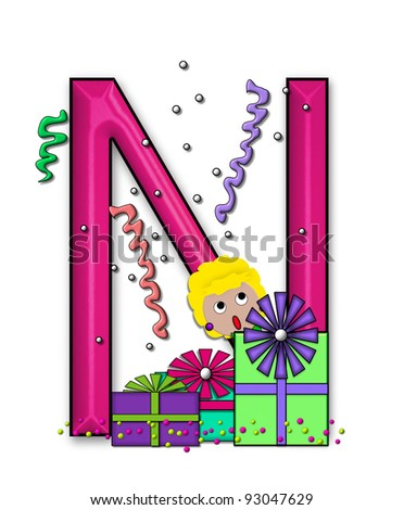 """N, in the alphabet set """"Birthday Letters"""", is surrounded by colorfully wrapped presents complete with bows.  Woman hides behind presents and peeks out pretending surprise. - stock photo"""