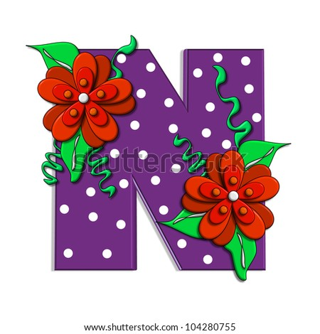 """N, in the alphabet set """"Clinging Vine"""", is decorated with mod flowers in three layers.  Letters are purple and vines and leaves are mint green. - stock photo"""