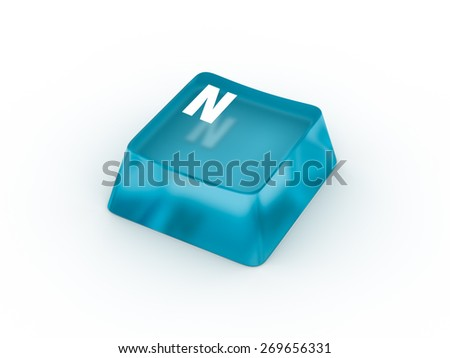 N Letter on transparent blue keyboard button - stock photo