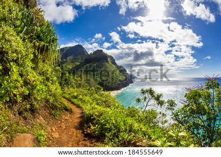 Na pali coast - Kalalau trail - stock photo
