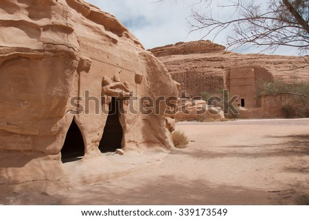 Nabatean tombs in Madain Saleh archeological site, Saudi Arabia. - stock photo