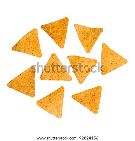 Nacho Cheese Tortilla Chips Isolated on a White Background - stock photo