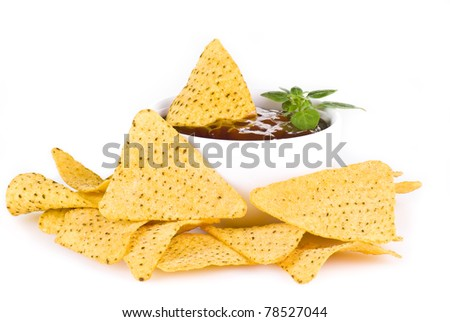 Nacho chips with barbecue sauce - isolated - stock photo