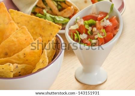Nachos and Salad - stock photo