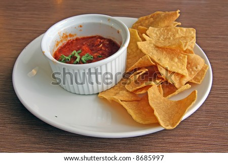 Nachos and salsa mexican snack food fried corn chips