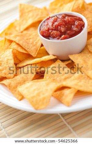 nachos and tomato dip - stock photo