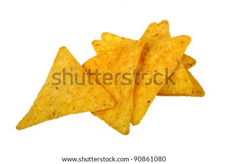 nachos corn chips isolated on white background - stock photo