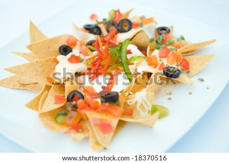 nachos mexican appetizer - stock photo