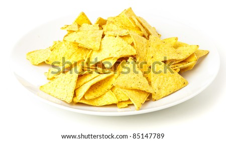nachos plate isolated on a white background