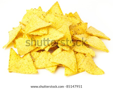 nachos stack isolated on a white background