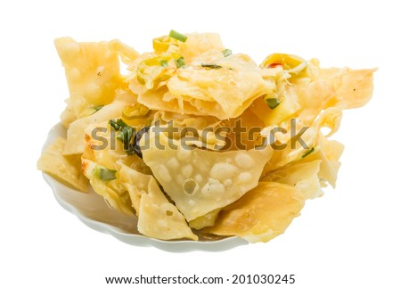 Nachos with chili pepper and olives - stock photo