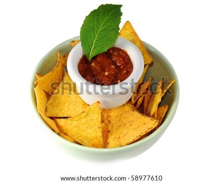 nachos with salsa isolated on white - stock photo