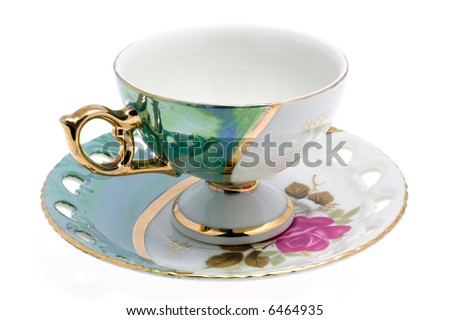 Nacre cup and saucer. Japan tea-service. Isolated. - stock photo
