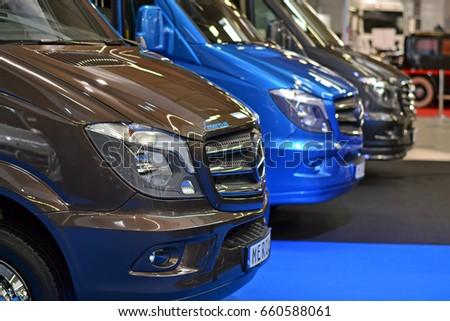 Nadarzyn, Poland - March, 23, 2017: Mercedes-Benz Sprinter parking in a row during presentation on Motor Show.