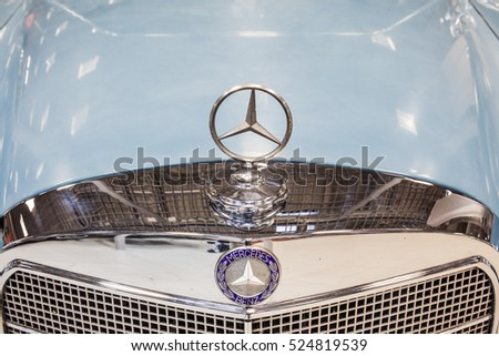 Nadarzyn, Poland, November 20, 2016, Warsaw Moto Show: Mercedes Benz emblem