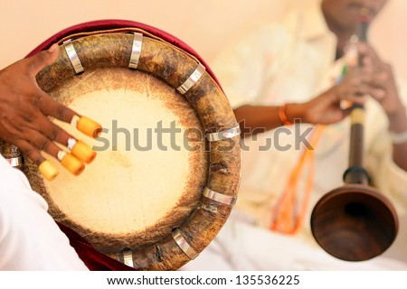 nadaswaram and thavil musical instrument  in Hindu Wedding, Tamil Nadu, India - stock photo