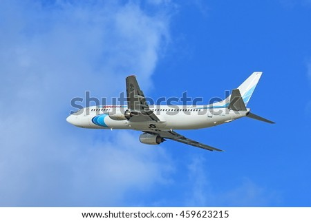 NADYM, RUSSIA - JULY 26, 2016: The Boeing 737-400 VQ-BII plane in flight