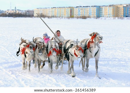 "NADYM, RUSSIA - MARCH 14, 2015: the Nenets woman operates a cervine team during a traditional holiday ""Day of reindeer breeders"". Nenets - aboriginals of the Russian North"