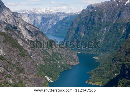 Naeroyfjord - famous UNESCO World Heritage Site in Norway. - stock photo