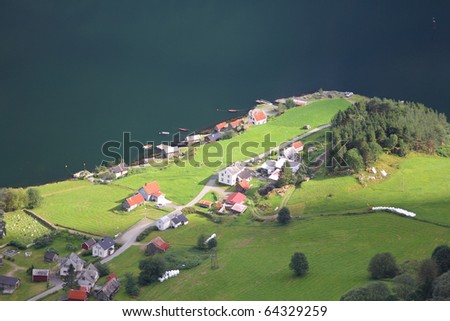 Naeroyfjord - famous UNESCO World Heritage Site in Norway. Beautiful fiord landscape in Sogn og Fjordane region. Bakka village. - stock photo