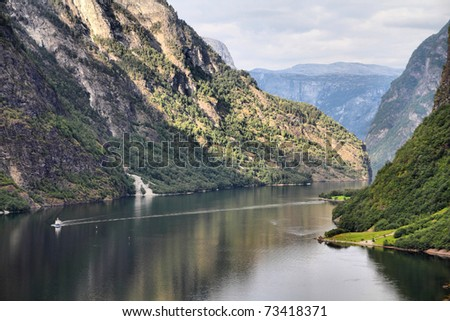 Naeroyfjord - famous UNESCO World Heritage Site in Norway. Beautiful fiord landscape in Sogn og Fjordane region. - stock photo