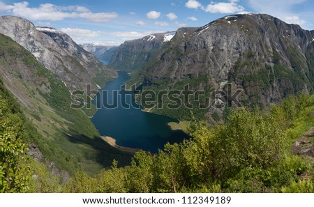 Naeroyfjord - famous UNESCO World Heritage Site in Norway. I stitched several images together to a panorama. - stock photo