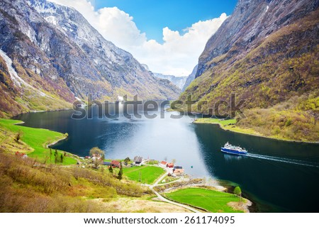 Naeroyfjord - fjord landscape in Sogn og Fjordane region - stock photo