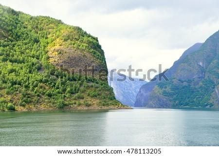 Naeroyfjord in Norway. Unesco World Heritage site.