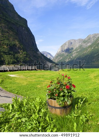 Naeroyfjord, Norway - stock photo