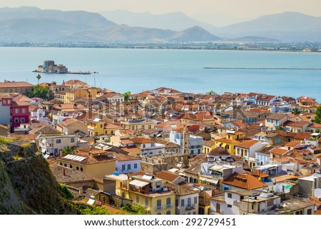 Nafplion village seen from Palamidi Castle, Greece - stock photo