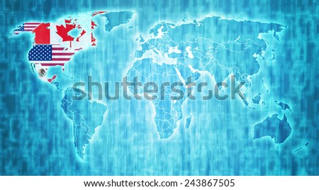 Nafta flags on blue digital world map with actual national borders - stock photo