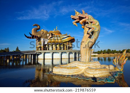 Naga head statue at the temple in Thailand. - stock photo