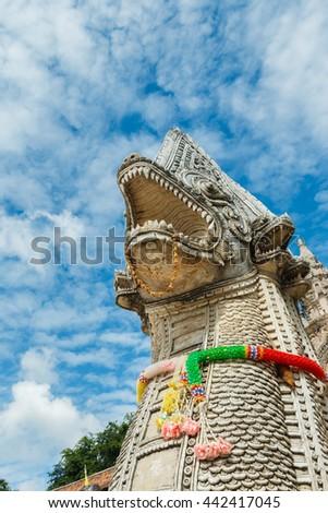 Naga statue at Wat Prathat Lampang Luang Temple, Lampang, Thailand. - stock photo