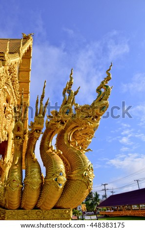 Naga statue in temple, Nan, northern of Thailand ,blue sky, blue sky cloud, - stock photo