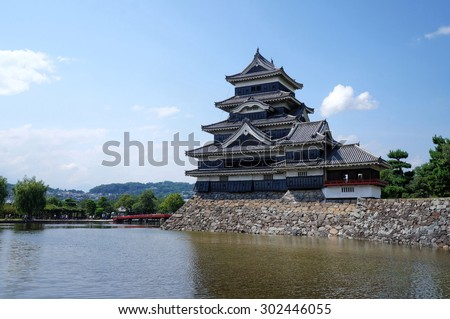 Nagano, Japan - July 29, 2015: Matsumoto Castle in Nagano, Japan. The Tensyukaku, which was completed in the late sixteenth century, maintains its original wooden interiors and external stonework.