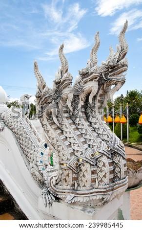 Nagas in wat tham kuha sawan, Ubon ratchathani province, Thailand  - stock photo