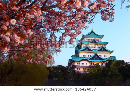 Nagoya Castle and cherry blossom season - stock photo