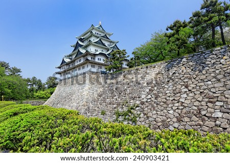 "Nagoya castle atop with golden tiger fish head pair called ""King Cha Chi"", Japan  - stock photo"