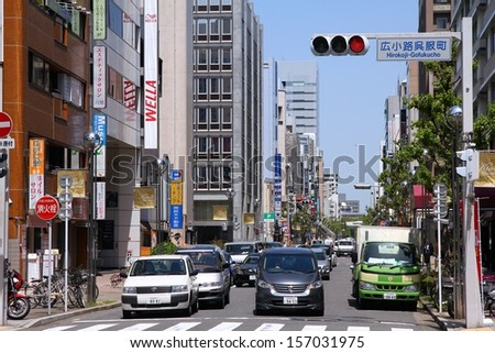 NAGOYA, JAPAN - APRIL 28: People drive in heavy traffic on April 28, 2012 in Nagoya, Japan. With 589 vehicles per capita, Japan is among most motorized countries worldwide, which causes heavy traffic.